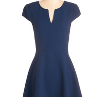 ModCloth Mid-length Cap Sleeves A-line Word to your Color Dress in Navy