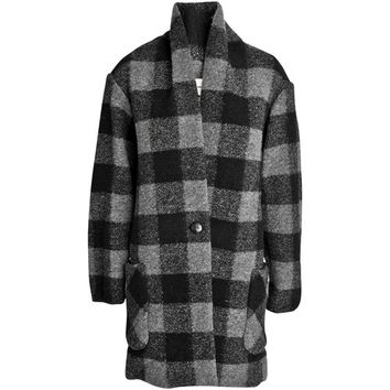 Isabel Marant Etoile - Gabrie checkered wool coat - YouHeShe