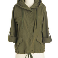 ModCloth 90s Mid-length Long Sleeve Versatile Reality Jacket in Olive