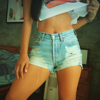 Pastel Goth 90s Soft Grunge clothing Creepy cute Nu Goth High waisted Levi denim shorts by Jeansonly