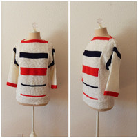 Vintage 70s Red White Blue Striped Boat Neck Pullover Womens Knit Sweater Top Medium