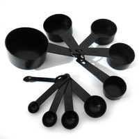 10pcs Black Plastic Measuring Spoon Cup Tool Cooking Scoop Kitchen Coffee Baking