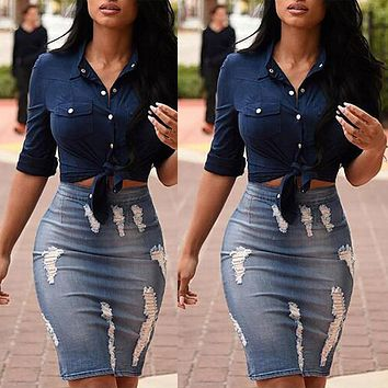Sexy Women Badnage Denim Skirts Women High Waist Destroyed Style Sexy Street Wear Skirts Straight Pencil Skirt For Women