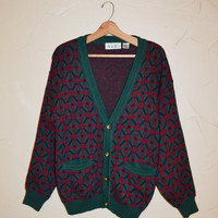 Vintage Sweater Cardigan Sweater Button Up Wool Sweater 80s Sweater Green and Burgundy Cardigan by Aggio Size Small