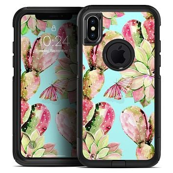 Watercolor Cactus Succulent Bloom V3 - Skin Kit for the iPhone OtterBox Cases