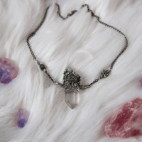GYPSY QUEEN CHOKER - Pyrite Tibetan Quartz Point Gunmetal - Charlie Girl Gems