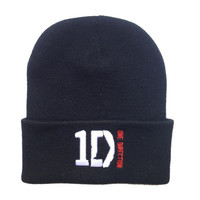 2015 Autumn  winter  spring  Knitted elastic ONE DIRECTION hedging wool hip hop embroidered  black hats