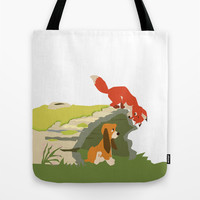 best friends forever.. a fox and a dog Tote Bag by Studiomarshallarts