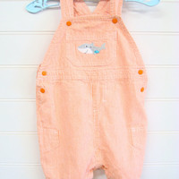 Vintage Baby Clothes, Baby Boy Overall Shorts, Pin Stripe Shortalls in Orange and White, Baby Boy clothes With Shark Applique. #