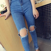High Waist Ultra Skinny Jeans with Busted Knees - Choies.com