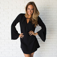 A Little Flare Black Shift Dress