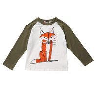 2016 Toddler Kids Baby Boys Girls Infant Autumn Long Sleeve Patchwork Fox T-Shirt Tops Clothing Cotton T-Shirts
