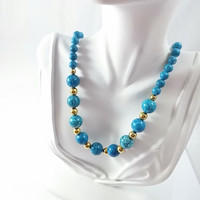 Vintage Turquoise Glass Beaded Necklace with Gold Tone Spacers