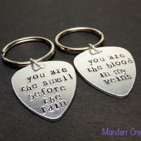 Quote Keychains, You Are The Smell Before The Rain, You Are The Blood In My Veins, Aluminum Guitar Picks, Musician Gift