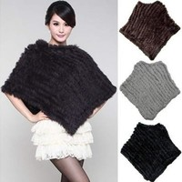 Women's Fashion Soft Knitted Genuine Fur Poncho Jacket Coats [8833672076]