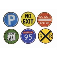 Road Trip Signs Glass Coasters - Set of 6