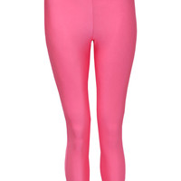 Xanthe High Waisted Wet Look Legging In Pink