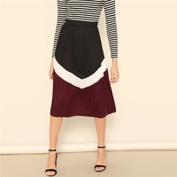 Color-Block Zip Detail Mid Waist Pleated Skirt Women Clothes Casual Preppy Elastic Waist A Line Maxi Skirt