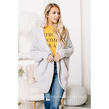 Cozy Caccoon Plush Open Front Cardigan | Light Grey