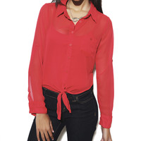 Roll Sleeve Tie Front Shirt   Shop Tops at Wet Seal