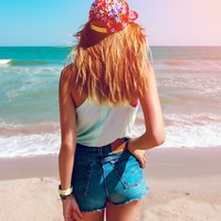 Mystery DISTRESSED High or Low Waisted Shorts / Sexy Denim Shorts For Summer: All Sizes
