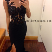 Custom-made Black Prom Dresses, Lace Prom Dresses 2016, Backless Prom Dresses