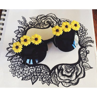 Sunflower Embellished Sunglasses, Sunflower Accessories, Retro Flower Sunnies