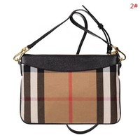 Burberry Fashion New Plaid Leather Shopping Leisure Shoulder Bag Women 2#