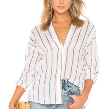 Vince Textured Stripe Blouse in Optic White