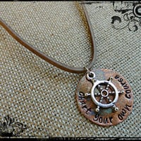 Chart Your Own Course Hand Stamped Copper Leather Ship Wheel Nautical Charm Mens Necklace