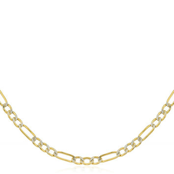 14K Yellow Gold 1.5mm - 6.8mm Pave Figaro Chain 16-30inch