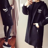 """Adidas"" Women Casual Multicolor Stripe Hooded Long Sleeve Zip Cardigan Medium Long Section Coat"