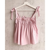 play date self tie strap tank top with open back in blush