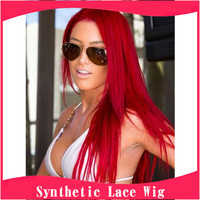 2016 New Fashion No Tangle No Shed Heat Resistant Japanese Fiber Long Straight Red Synthetic Lace Front Wigs For Black  Women