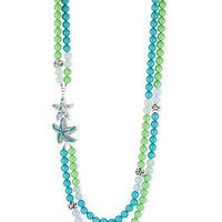 Haskell Necklace, Silver-Tone Teal and Green Starfish Two-Row Long Necklace - All Fashion Jewelry - Jewelry & Watches - Macy's