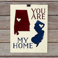 You are my home Personalized maps, Cartography art, Two map, Long distance relationship, military bride and groom, Deployed, Deployment gift