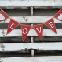 Love Burlap Banner, Valentines Banner, Photo Prop, Wedding Prop