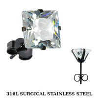 9mm SPIKES 316L Stainless Steel Black IP Plated Princess CZ Stud Earrings-   Body Candy Body Jewelry