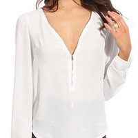 White Zipper Chiffon Blouse