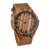 Wooden Watches Fashion Natural Bamboo Wristwatch  With Genuine Cowhide Leather Lovers Luxury Wood Watches For Men Idea Gifts