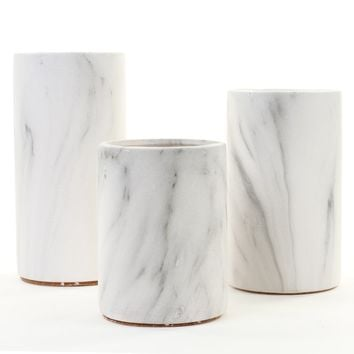 Reimers Marble Ceramic Cylinder Centerpiece 3 Piece Table Vase Set