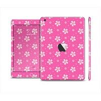 The Pink & Tiny White Floral Pattern Full Body Skin Set for the Apple iPad Mini 2