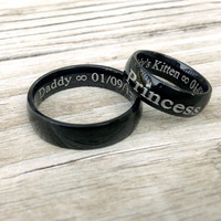 MATURE BDSM MESSAGE engraved rings couples Black Stainless Steel. Customize master slave daddy dom baby girl princess little sub cuckold