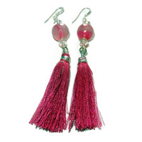 Hot Pink Tassel Dangle Earrings