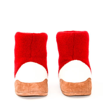 Children Cashmere Boots, Kids Cashmere Slippers, Soft Leather Soles, Upcycled Wool Shoes.  Sizes: Kids 7.0 - Youth 2.5. Roses