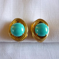 Vogue Turquoise Earrings, Turquoise Cabochon Earrings with Gold Tone Wire Wrap, Turquoise Glass Stone Earrings