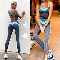 Summer new skinny halter yoga fitness pants sports jumpsuit women