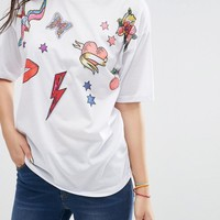 ASOS T-Shirt in Oversize Fit with Badge Print