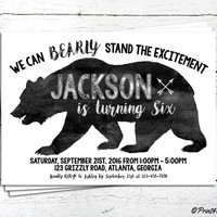 Grizzly Bear Invitation // Personalized Printable B&W Watercolour Grizzly Bear Birthday Invitation // Grizzly Invite // Black Bear Invite