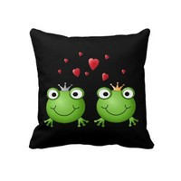 Frog Couple with hearts. Throw Pillows from Zazzle.com